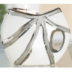 GILDE Teelichthalter aus Keramik in Platin Weiß, mit Struktur, 10,5 cm
