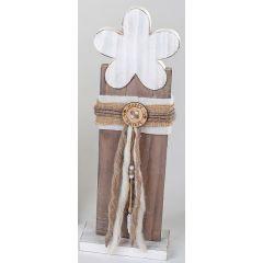 Wunderschöner Deko Ständer Blume aus Holz in Weiß Braun, 56 cm