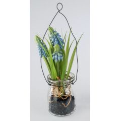 formano Deko Muscari blau im Glas zum Aufhängen, 17 cm