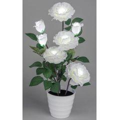 Wunderschöne Deko Rose im Töpfchen mit 7 LED Blüten in Weiß, 57 cm