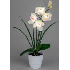 Orchidee im weißen Töpfchen mit 4 LED Blüten, 56 cm