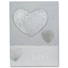 formano Wandbild aus Holz mit Herzen in Silber, 30 x 40 cm