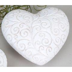 formano Deko Garten Herz rustikal weiß mit Relief, 13 cm
