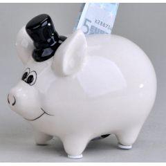 formano Sparschwein Bräutigam aus Keramik in Weiß, 11 cm