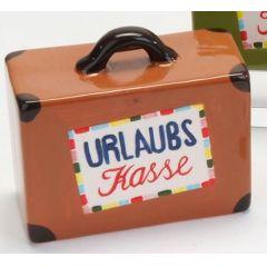 formano Spardose Sparbüchse Koffer in Braun aus Keramik, 15 cm