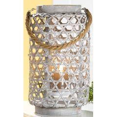 Weiden Laterne mit Seilgriff und Glaseinsatz in Grau, 31 x 20 cm