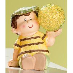 GILDE Dekofigur Junge aus Keramik mit LED Deko Kugel, sitzend, 12 cm