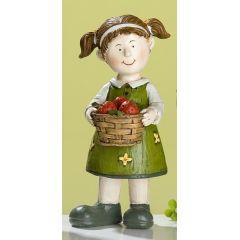 GILDE Garten Kind Pauline mit Korb, von Hand bemalt, 6,5 x 6 x14 cm