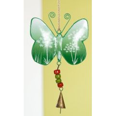 GILDE Hängedeko Schmetterling aus Metall in Dunkelgrün, 13 x 24 cm