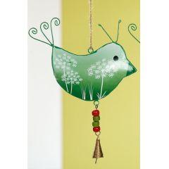 GILDE Hängedeko Vogel aus Metall in Dunkelgrün, 19 x 26 cm
