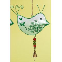 GILDE Hängedeko Vogel aus Metall in Hellgrün, 19 x 26 cm