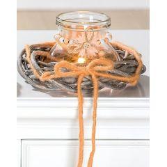 GILDE Glas Windlicht mit Rattan Kranz in Orange, 11 x 20 cm