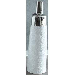 GILDE Moderne Flaschenvase weiß silber mit Musterung, 17 x 61 cm