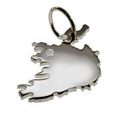 IRLAND Anhaenger aus Silber mit Brillant am Wunschort