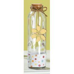 GILDE Glas Flaschenpost, Blüte in Gelb, 6 x 20 cm