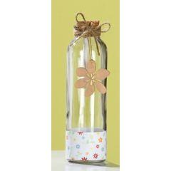 GILDE Glas Flaschenpost mit Blüte, braun, 6 x 20 cm