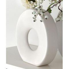 GILDE Moderne Vase mit Loch und Reliefierung weiß, 6 x 24,5 x 23 cm