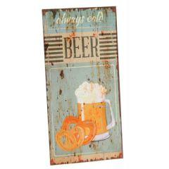 DIO Wandbild aus Metall always cold Beer, 20 x 40 cm