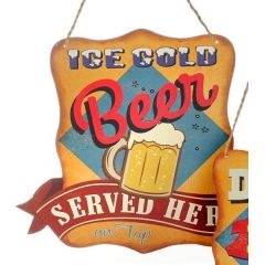 DIO Wandbild aus Metall, Ice Cold Beer , 28 x 27 cm