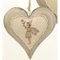 DIO Dekohänger Herz mit Elfe aus Metall, grau/creme/grün/pink, 10 x 10 cm