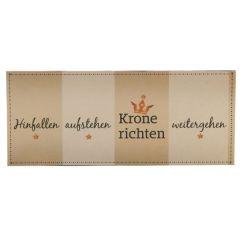 DIO Wandschild mit Aufschrift Krone richten aus Metall, beige braun