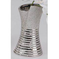 formano Blumenvase aus Keramik mit Silberstreifen, 20 cm