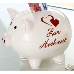 GILDE Spardose Sparschwein in Weiß mit Spruch Zur Hochzeit, 14 cm