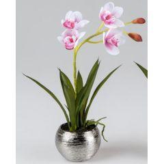 Wunderschöne rosa Orchidee im Silbertopf, 36 cm