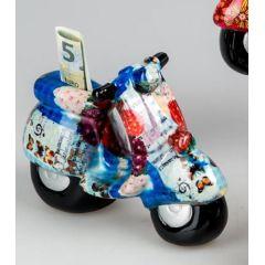 Trendige Spardose Roller Flower Power in Blau aus Keramik, 20 cm