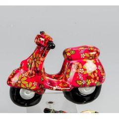 Trendige Spardose Roller Flower Power in Rot aus Keramik, 20 cm