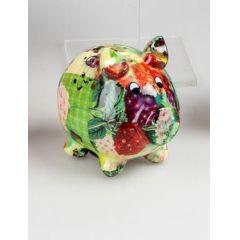 Spardose Sparschwein Flower Power in Bunt aus Keramk, 15 cm