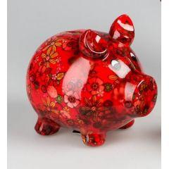 Spardose Sparschwein Flower Power in Rot aus Keramik, 18 cm