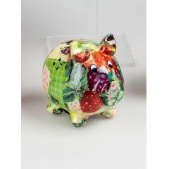 Spardose Sparschwein Flower Power in Bunt aus Keramik, 18 cm