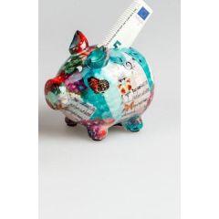 Spardose Sparschwein Flower Power in Türkis aus Keramik, 18 cm