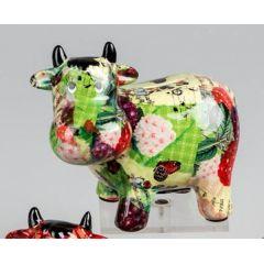 Spardose Sparbüchse Kuh Flower Power in Grün aus Keramik, 17 cm