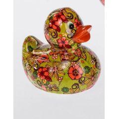 Spardose Sparbüchse Ente Flower Power in Grün aus Keramik, 13 cm