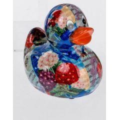 Spardose Sparbüchse Ente Flower Power in Blau aus Keramik, 13 cm