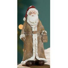 GILDE Weihnachtsmann mit Geschenk im Holz Look, 13 cm