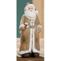 GILDE Weihnachtsmann mit Zuckerstange im Holz Look, 13 cm