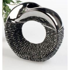 formano Blumenvase Black Rope aus Keramik, 23 cm