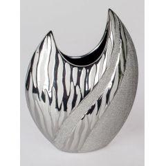 formano moderne Blumenvase in Wave silber, flach, 21 cm
