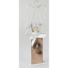formano Windlicht Engel auf Fuß aus Metall und Holz, 50 cm