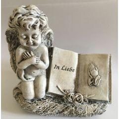 formano Engel aus Kunststein als Grabdeko, in Liebe, creme grau, 14 cm
