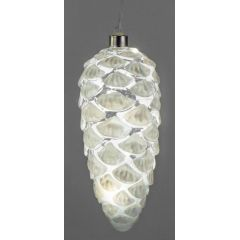 Hänger Zapfen mit LED-Licht 20 cm aus klarem Glas mit Schneedekor