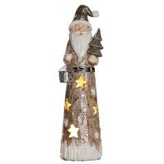 GILDE Dekofigur Santa mit LED Beleuchtung, 6x7x24,5 cm