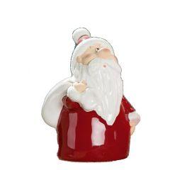GILDE Dekofigur Santa mit Geschenkesack, rot weiß gold, 15 cm