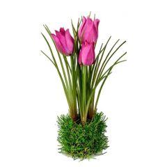 formano Tulpen auf Grassockel, pink, 23 cm