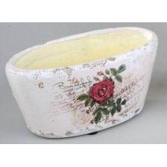 Pflanzgefäß aus Keramik mit Rosen, 17 x 9 cm