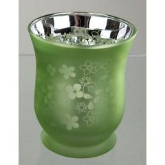 Windlicht in Grün aus Glas, 11 cm