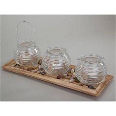 Windlicht Set mit Deko Schale aus Holz und Glas, 40 cm